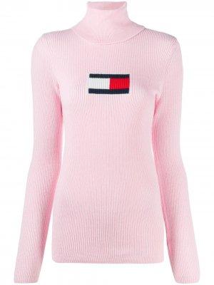 Свитер с высоким воротником и логотипом вязки интарсия Tommy Jeans. Цвет: розовый