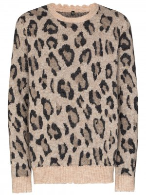 Джемпер с леопардовым принтом R13. Цвет: нейтральные цвета