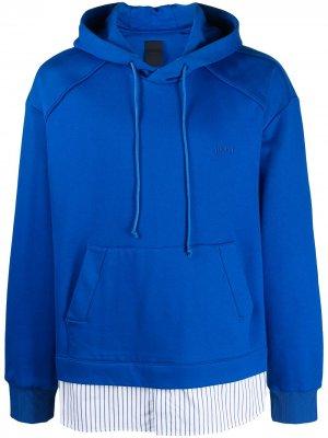 Многослойный пуловер с капюшоном Juun.J. Цвет: синий