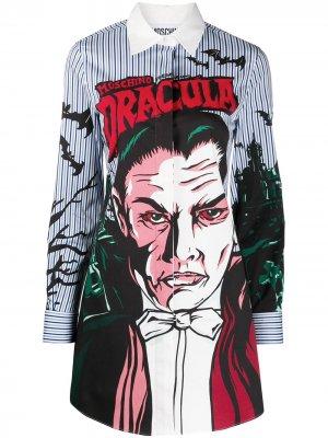 Платье-рубашка Dracula в полоску Moschino. Цвет: синий