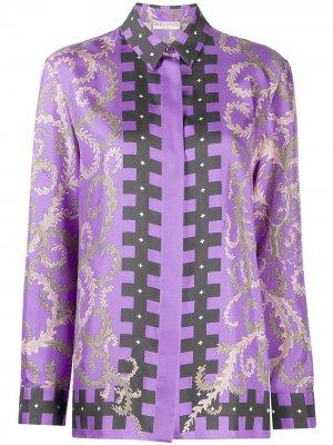 Рубашка с высоким воротником из коллаборации Koché Emilio Pucci. Цвет: фиолетовый