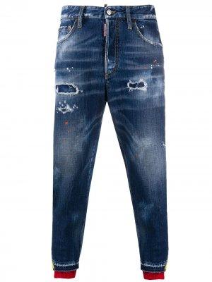 Зауженные джинсы с лампасами Dsquared2. Цвет: синий