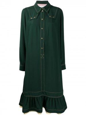 Платье-рубашка со сборками LANVIN. Цвет: зеленый