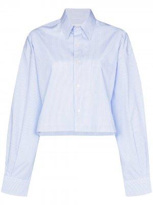 Укороченная рубашка оверсайз R13. Цвет: синий