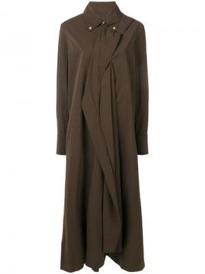 Платье-рубашка с драпировкой Uma Wang. Цвет: коричневый