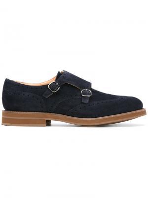 Классические туфли-монки Church's. Цвет: синий