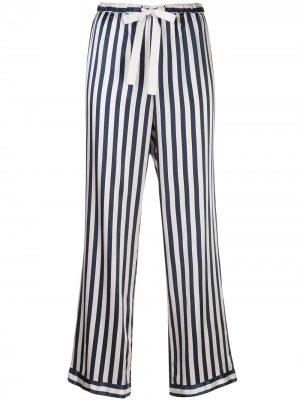 Пижамные брюки Chantal в полоску Morgan Lane. Цвет: черный
