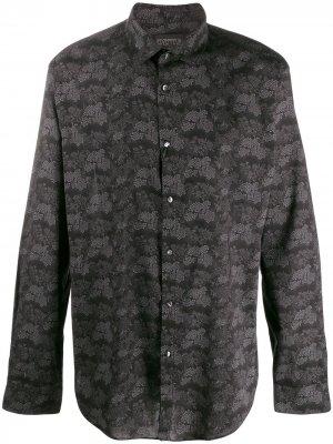 Рубашка с цветочным узором John Varvatos. Цвет: черный