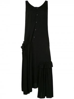 Платье асимметричного кроя с драпировкой Yohji Yamamoto. Цвет: черный