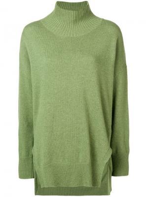 Трикотажный свитер с высоким воротником Roberto Collina. Цвет: зеленый