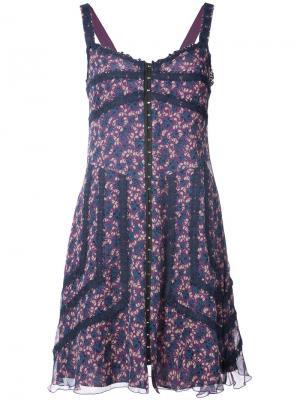 Платье с цветочным принтом Anna Sui. Цвет: розовый и фиолетовый