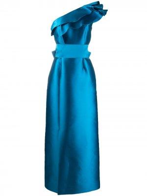Вечернее платье с открытыми плечами и оборками Alberta Ferretti. Цвет: синий