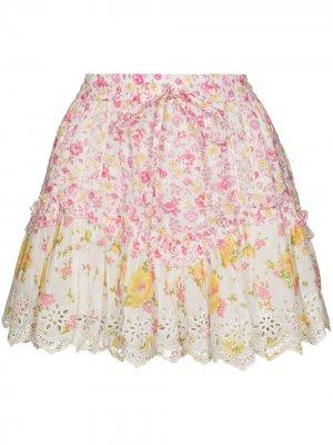 Юбка мини Becca с оборками и цветочным принтом LoveShackFancy. Цвет: белый