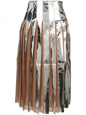 Плиссированная юбка с отблеском Drome. Цвет: серебряный