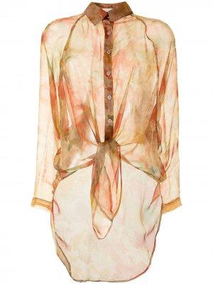 Блузка с завязками Mes Demoiselles. Цвет: оранжевый