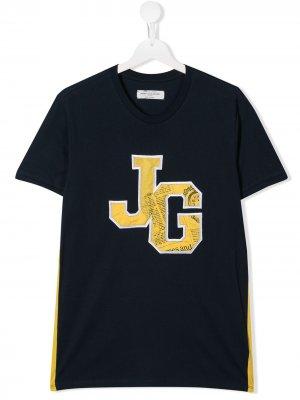 Футболка с круглым вырезом и логотипом John Galliano Kids. Цвет: синий
