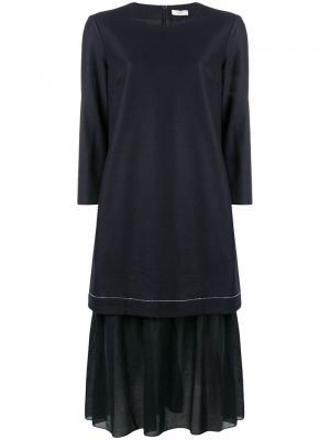 Платье шифт с оборками Peserico. Цвет: синий