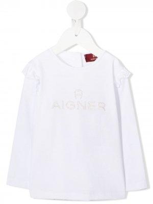 Топ с оборками и логотипом Aigner Kids. Цвет: белый