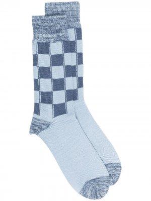 LONG CHECK SOCKS L.BLUE D.BLUE AMBUSH. Цвет: синий