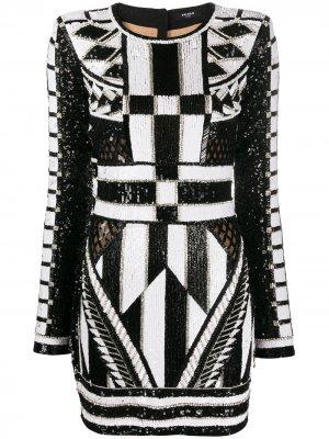 Облегающее платье с пайетками и кристаллами Balmain. Цвет: белый