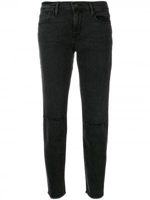 Рваные джинсы прямого кроя FRAME. Цвет: черный