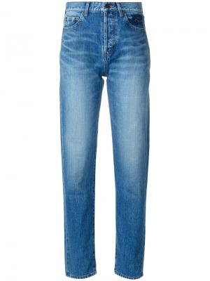 Зауженные книзу джинсы кроя слим Saint Laurent. Цвет: синий