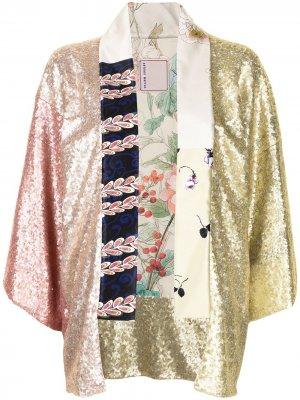 Кимоно в технике пэчворк с цветочным принтом Antonio Marras. Цвет: разноцветный