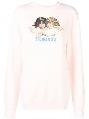 Толстовка с фирменным принтом в виде ангелов Fiorucci. Цвет: розовый