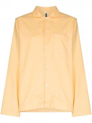 Пижамная рубашка на пуговицах TEKLA. Цвет: желтый