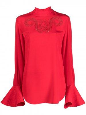 Блузка с высоким воротником Patou. Цвет: красный