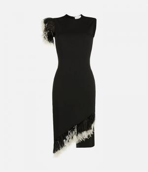 Платье со вставками из перьев Christopher Kane. Цвет: черный