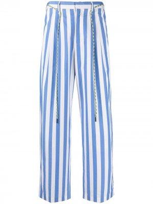 Прямые брюки в полоску Viktor & Rolf. Цвет: синий