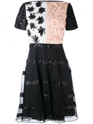 Приталенное платье с аппликацией Talbot Runhof. Цвет: черный