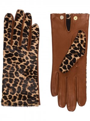 Перчатки Chloe с леопардовым принтом Agnelle. Цвет: коричневый