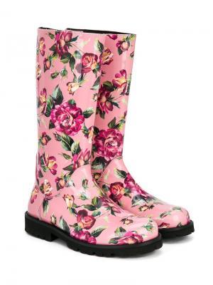 Сапоги с цветочным принтом Dolce & Gabbana Kids. Цвет: разноцветный