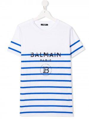 Полосатая футболка Balmain Kids. Цвет: белый