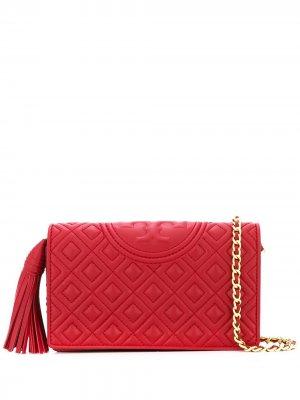 Стеганая сумка через плечо с логотипом Tory Burch. Цвет: красный