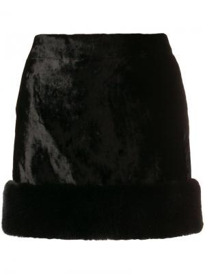 Мини-юбка с искусственным мехом Saint Laurent. Цвет: черный