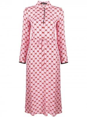 Платье-рубашка с принтом Lips Markus Lupfer. Цвет: розовый