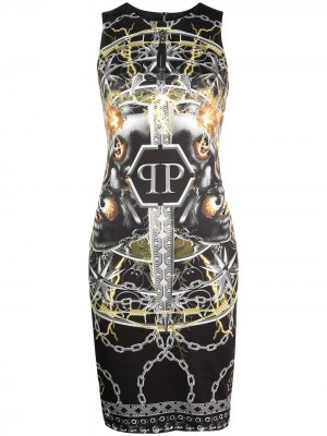 Foulard texture dress Philipp Plein. Цвет: черный
