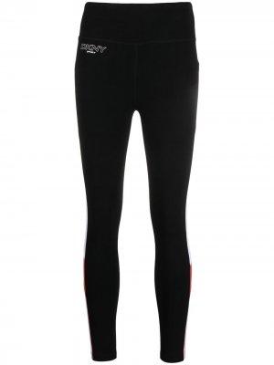 Легинсы со вставками DKNY. Цвет: черный