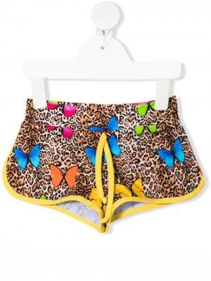 Плавки-шорты с леопардовым принтом Mc2 Saint Barth Kids. Цвет: коричневый