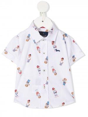 Рубашка с короткими рукавами и графичным принтом Harmont & Blaine Junior. Цвет: белый