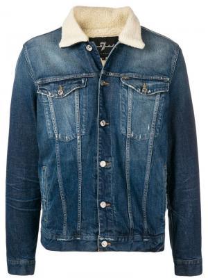 Джинсовая куртка с отделкой из искусственной овчины 7 For All Mankind. Цвет: синий