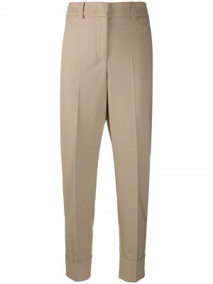 Зауженные брюки средней посадки Peserico. Цвет: коричневый