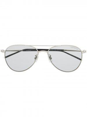 Солнцезащитные очки-авиаторы с затемненными линзами Montblanc. Цвет: золотистый