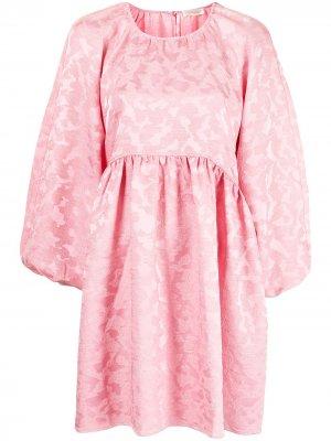 Жаккардовое платье с леопардовым принтом Stine Goya. Цвет: розовый