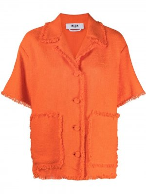 Куртка с короткими рукавами и бахромой MSGM. Цвет: оранжевый