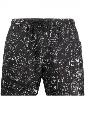 Плавки-шорты с принтом Marcelo Burlon County of Milan. Цвет: черный