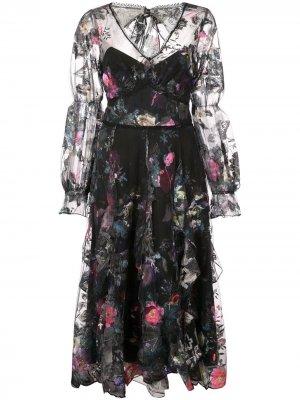 Платье с оборками и цветочным принтом Marchesa Notte. Цвет: черный
